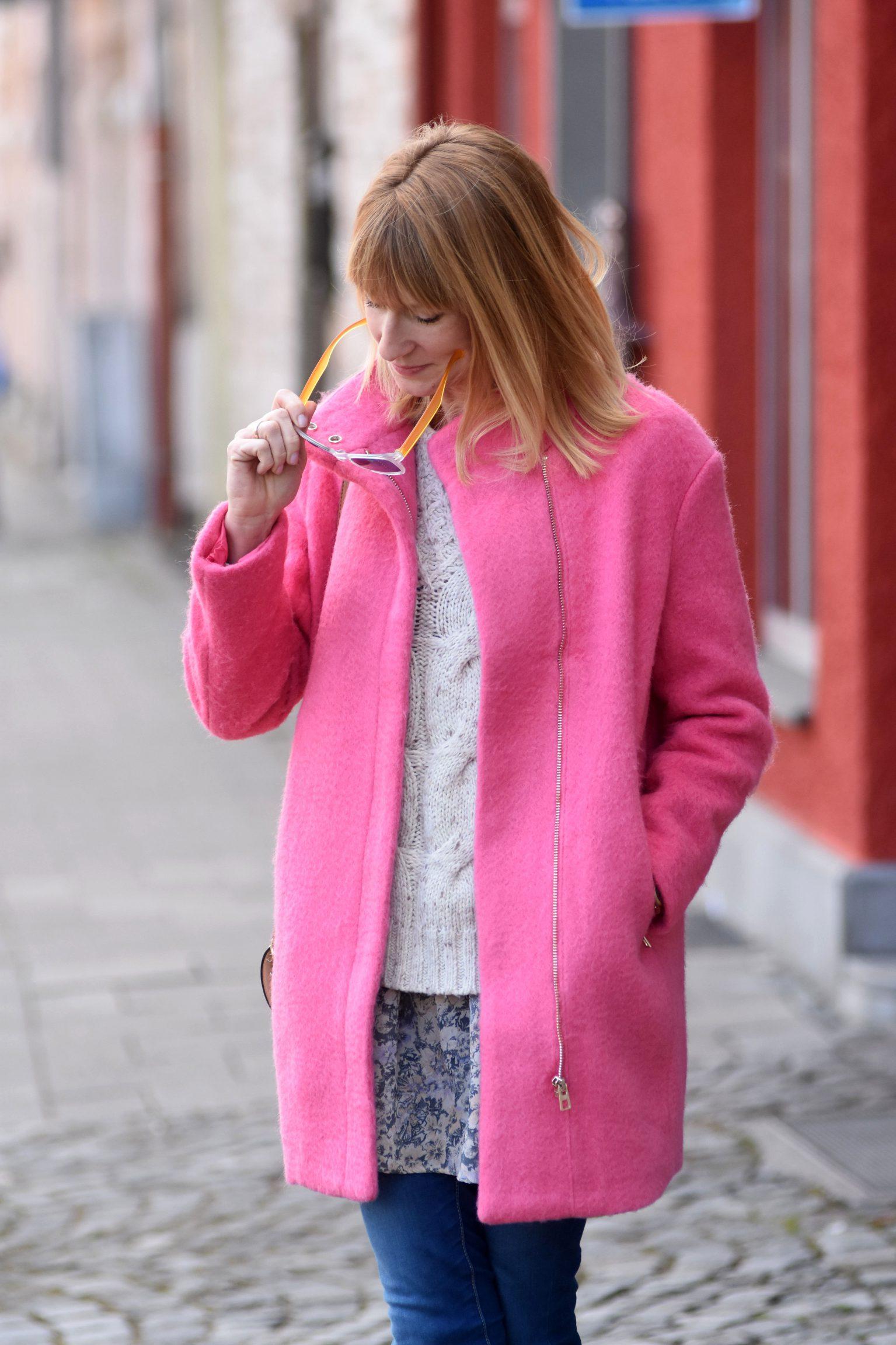 Pink Lady, pinker Mantel, Mamablog, Modemama, Modeblog, Mantel H&M, Lagenlook, Streetstyle, Frühlingslook, Wintermantel,